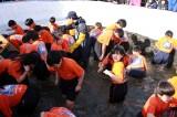 People Rush in Hwacheon Sanchoneo Ice Festival