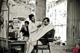 Roadside barbers in Pakistan