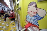 Metro train decorated with animation drawings