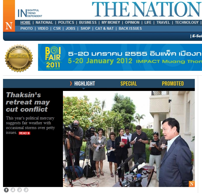 Thaksin's retreat may cut conflict