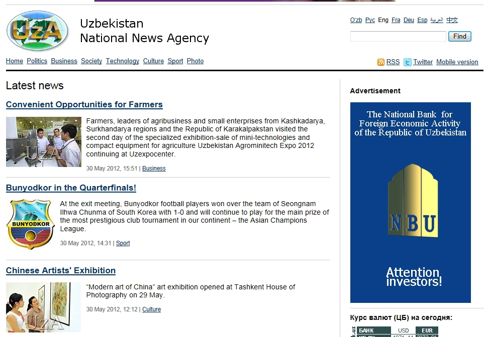 Major news in Uzbekistan on May 31