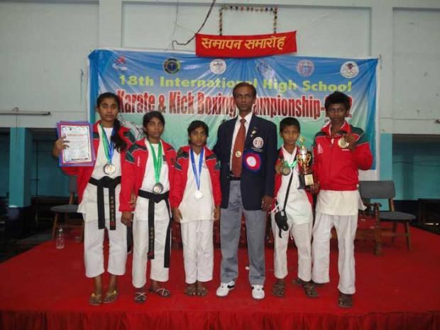 Bangladesh Karate team  in Nepal's  stadium