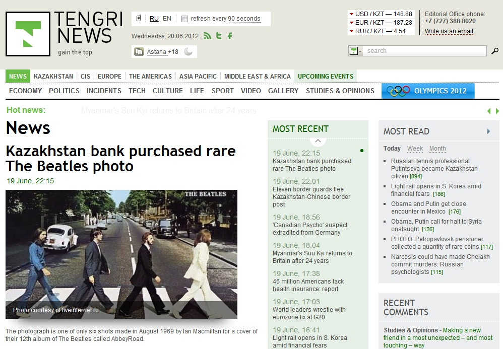 Major news in Kazakhstan on Jun 20: Kazakhstan bank purchased rare The Beatles photo