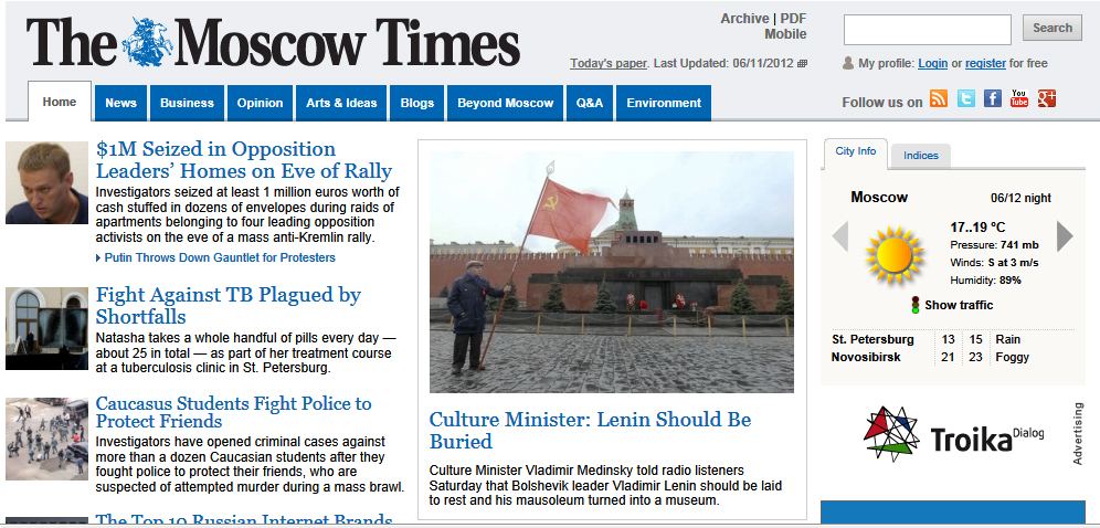 "Major news in Russia on Jun 12: Culture Minister ""Lenin Should Be Buried"""