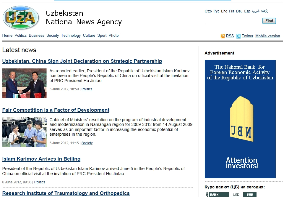 Major news in Uzbekistan on Jun 7