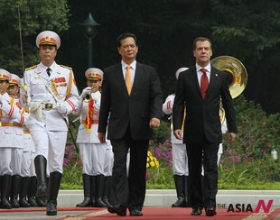 Vietnamese President Talks With Russian PM At His Office In Hanoi