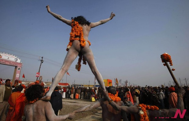 Indian Folk Artists Accompany Naked Hindu Holy Men Procession In Religious Congregation