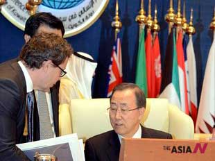 Bank Ki-moon Attends An International Conference For Syria At Bayan Palace, Kuwait