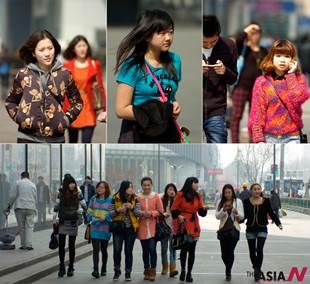 Young women begin wearing spring clothing as it gets warm in Nanjing, China