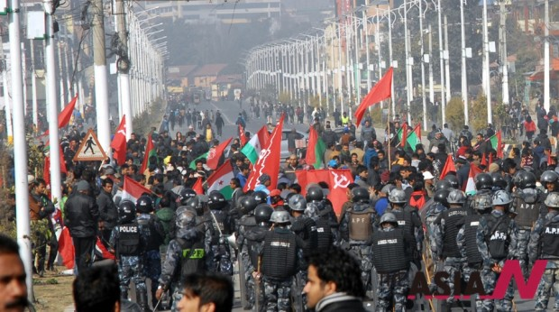 The Maoists and its allies demonstrating in the streets of Kathmandu during the general strike of January 20, 2015