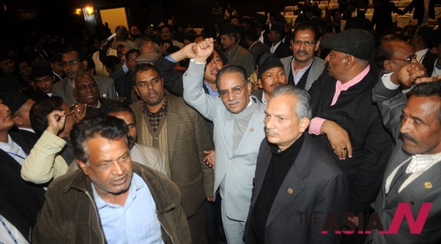 The opposition lawmakers chant slogans in the Constituent Assembly. Maoist leaders Prachanda ( with sky-color coat) and Dr Baburam Bhattraai (black coat) are seen in the center