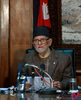 Prime Minister Sushil Koirala addressing the nation after the CA failed to deliver a new statute on January 22
