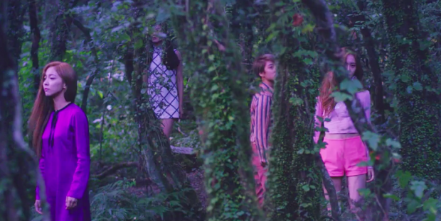 """a still picture of """"4 walls"""" music video, in the forest setting."""