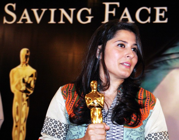 """Oscar winner Pakistani film maker Sharmeen Obaid-Chinoy after a press conference in Karachi on March 10, 2012. Sharmeen Obaid-Chinoy won Pakistan's first ever Oscar in the short documentary category with her film """"Saving Face"""" about survivors of acid attacks and British Pakistani plastic surgeon Mohammad Jawad, who returned to his homeland to help restore their faces and lives.  (Xinhua/Arshad)"""
