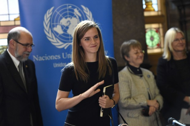 British actress and Goodwill Ambassador of the United Nations (UN) Emma Watson (C) delivers a speech during an event petitioning for the increase of the presence of women in the Parliament in Montevideo, capital of Uruguay, on Sept. 17, 2014.  (Xinhua/Nicolas Celaya)