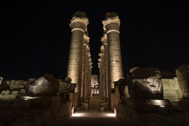 Statues in the Luxor Temple are seen illuminated at night in Luxor, a famous tourism destination in southern Egypt (Xinhua/Pan Chaoyue)