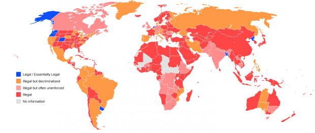 Marijuana legislation in the world, it shows how widely legalized it is in the Middle East. (Wikipedia)