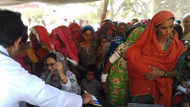 Women at a medical camp in Mithi town.