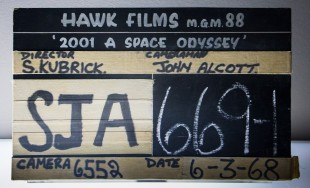 Film slate from '2001: A Space Odyssey' production.