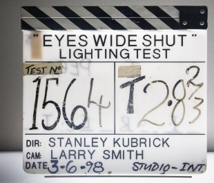 Film slate from 'Eyes Wide Shut' production.