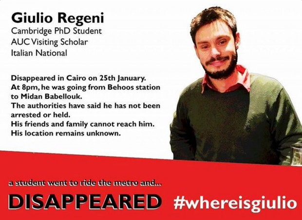 This image posted online after the Jan. 25, 2016 disappearance of Italian graduate student Giulio Regeni in Cairo, Egypt shows Reggeni in a graphic used in an online campaign, #whereisgiulio seeking information on his whereabouts. (#wheresgiulio via AP)