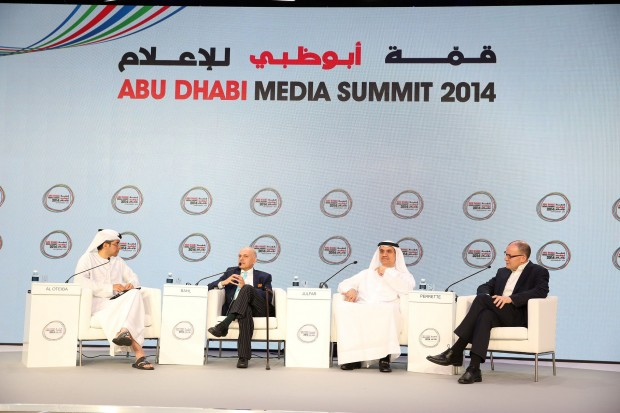 Participants discuss at the three-day Abu Dhabi media summit in Abu Dhabi, United Arab Emirates. Queen Rania Abdullah of Jordan delivered a keynote speech here on Tuesday and said that the Arab world shall not allow IS terrorists to hijack the region's identity, but to encounter extremism through creating education, jobs and to retain the region's lead in global cyberspace growth. (Xinhua/An Jiang)