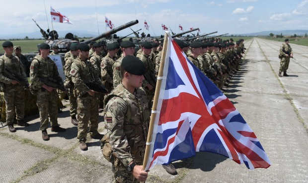 """(160512) -- TBILISI, May 12, 2016 (Xinhua) -- Soldiers from Georgia, the United States and Britain participate in the joint military exercises named """"Noble Partner 2016"""" at Vaziani base in Tbilisi, Georgia, May 11, 2016. (Xinhua/Lasha Kuprashvili)"""