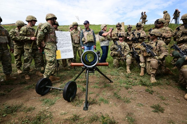 """(160514) -- TBILISI, May 14, 2016 (Xinhua) -- Soldiers participate in the """"Noble Partner 2016"""" military drill at the Vaziani base near Tbilisi, Georgia, May 14, 2016. The three-week long joint military drill involved as many as 1,300 soldiers including 500 Georgian servicemen, 650 U.S. servicemen and 150 UK soldiers who incorporate a full range of equipment. (Xinhua/Kate Sovdagari)"""