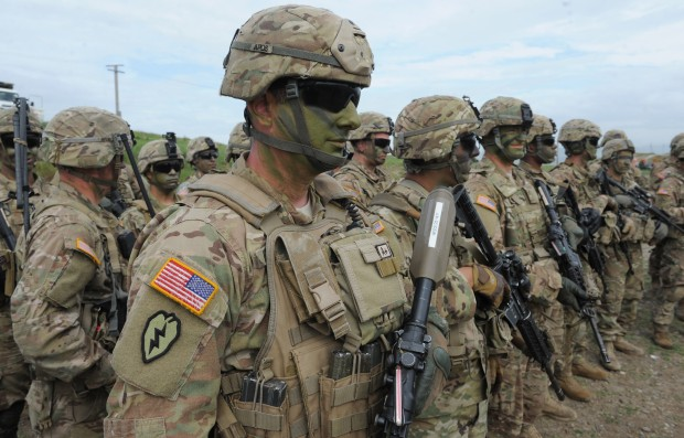 """(160514) -- TBILISI, May 14, 2016 (Xinhua) -- Soldiers of Georgia, U.S. and UK participate in the joint military exercises named """"Noble Partner 2016"""" at Vaziani base near Tbilisi in Georgia, May 14, 2016. Georgia announced the three-week long military drill named """"Noble Partner 2016"""" with U.S. and UK at the Vaziani base near its capital Tbilisi on May 11. The drill will last until May 26. (Xinhua/Lasha Kuprashvili)"""