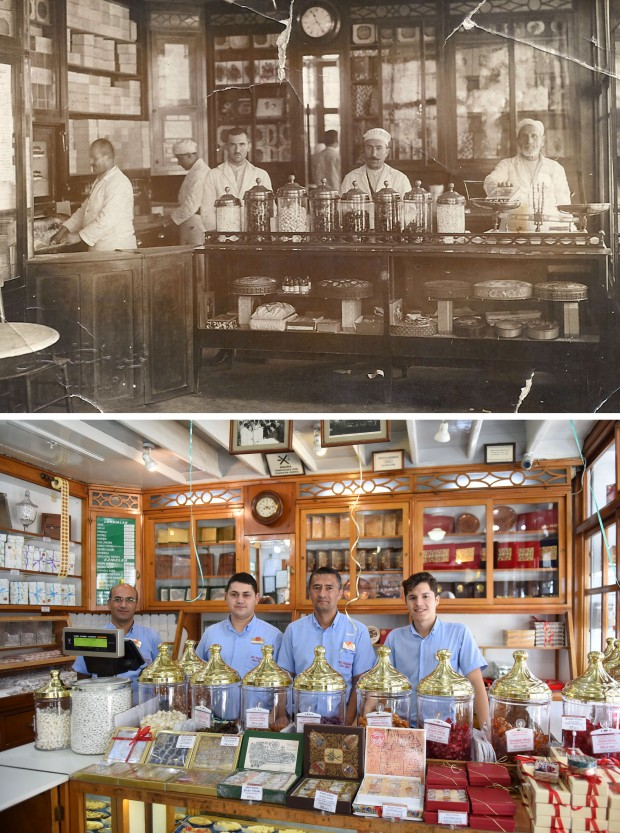 ISTANBUL, Aug. 30, 2016(Xinhua) -- This combo photo shows Haci Bekir staff's pictures taken in the early 20th century (top) and on Aug. 29, 2016. Haci Bekir was founded in 1777 and has become a world famous Turkish dessert brand. (Xinhua/He Canling) (lrz)