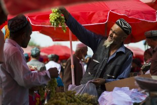 (160911) -- QIRA, Sept. 11, 2016 (Xinhua) -- A man sells his grapes at a bazaar in Qira County, northwest China's Xinjiang Uygur Autonomous Region, Sept. 11, 2016. Local Muslims prepared for the upcoming Corban Festival, also known as Eid al-Adha or the feast of the sacrifice, in various ways. (Xinhua/Jiang Wenyao) (wyl)