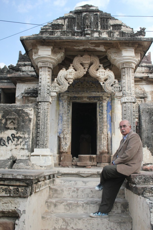 Author sits at the entrance of a Jain Temple in Nagarparkar town