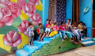 Children in the Roses Alley by artist Adel Mustafa