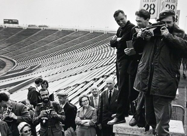 Castro at a stadium in Leningrad. 1963.