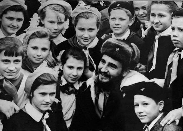 Fidel Castro meeting schoolchildren in Murmansk, USSR. 1963.