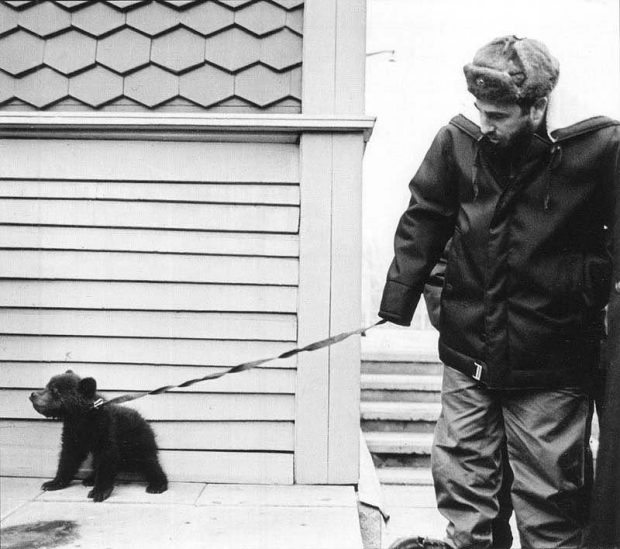 Fidel Castro with bear cub Baikal, given to him by Siberian geologists. 1960's