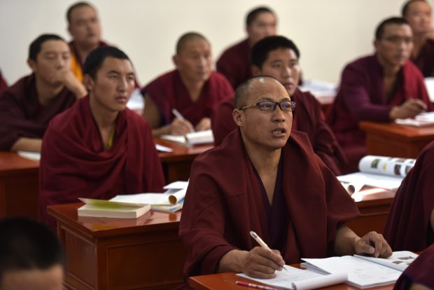 Nov. 17, 2016 (Xinhua) -- Monks have a lesson at Qinghai Tibetan Buddhism college in Guide County, northwest China's Qinghai Province, Nov. 16, 2016. The first batch of 120 monks have started their four-year full-time studies at the newly-opened Tibetan Buddhism college recently. (Xinhua/Zhang Hongxiang)(mcg)