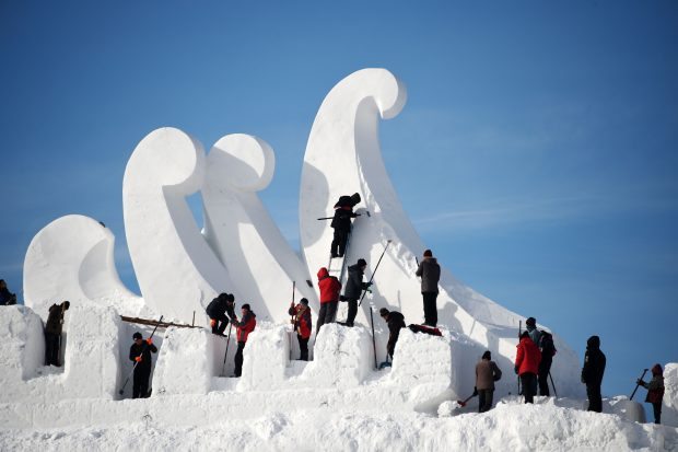 "HARBIN, Dec. 5, 2016 (Xinhua) -- Artists creat a snow sculpture ""Love Song"" for the 29th Harbin Sun Island International Snow Sculpture Art Expo in Harbin, capital of northeast China's Heilongjiang Province, Dec. 5, 2016. Some 100 artists will spend over 10 days creating the snow sculpture ""Love Song"", which is 103 meters long, 14 meters wide and 31 meters high. (Xinhua/Wang Jianwei) (mp)"