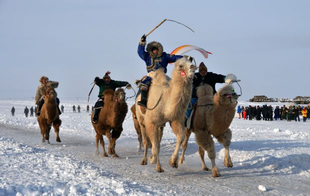 "HULUN BUIR, Dec. 21, 2016 (Xinhua) -- Herdsmen take part in a camel race during the winter Nadam and camel fair in Ewenki Autonomous Banner, Hulun Buir, north China's Inner Mongolia Autonomous Region, Dec. 20, 2016. The fair, a local traditional festival including camel race, camel ""beauty contest"" and a series of ice and snow events, started in Ewenki on Tuesday. (Xinhua/Han Leng) (wf)"
