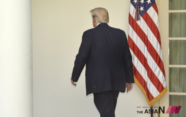 President Donald Trump leaves after delivering a speech at the White House in Washington D.C., capital of the United States, on June 1, 2017. U.S. President Donald Trump said on Thursday that he has decided to pull the United States out of the Paris Agreement, a landmark global pact to fight climate change. (Photo : Xinhua/NEWSis)
