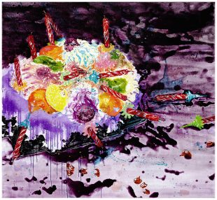 The Wanted Ones_A Sweet Afterlife by Wang Liang-Yin Born in Yunlin (Taiwan) in 1979, Wang Liang-Yin used acrylic as a medium of artistic creation since her undergraduate years. She is famous for her portrayal of sweets. Using sweets as a visual symbol, the artist evokes the sense of taste in viewers' memory or imagination, explores the primitive desire induced by sweets, and the complicated relation between thoughts and desires