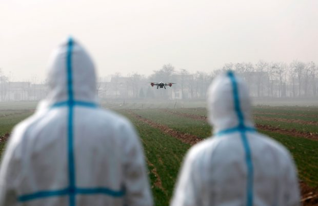 Photo taken on March 3, 2019 shows technicians operating a drone to remove weeds in a wheat field in Weinan, northwest China's Shaanxi province. (Photo by Cui Zhengbo from People's Daily Online)