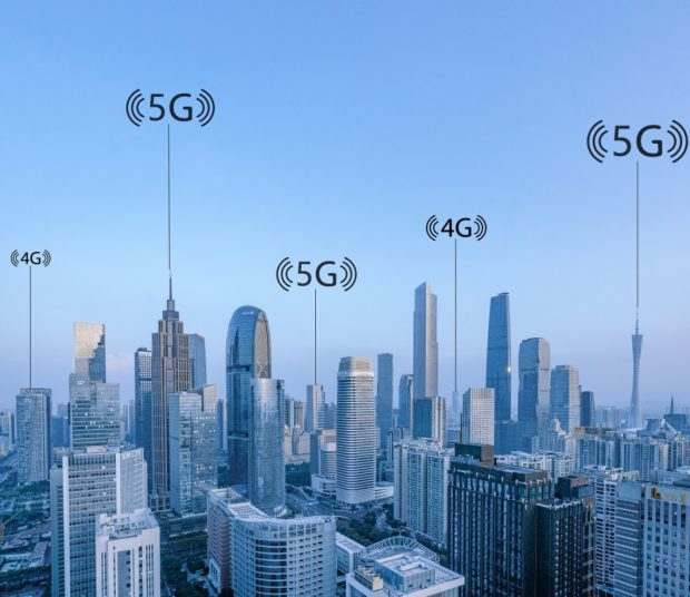 The 5G concept map of big data wireless network of city scenery in Pearl River New Town, Tianhe District, Guangzhou