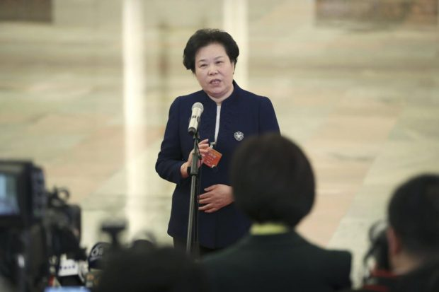Head of China Meterological Administration Liu Yaming receives an interview after the second plenary meeting of the second session of the 13th National People's Congress at the Great Hall of the People in Beijing, capital of China, March 8, 2019. (Photo from Xinhua News Agency)