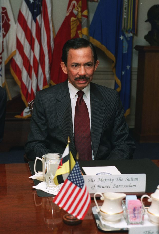 021216-D-2987S-021 His Majesty Hassanal Bolkiah, the sultan of Brunei, meets with Deputy Secretary of Defense Paul D. Wolfowitz at the Pentagon on Dec. 16, 2002. The two leaders are meeting to discuss defense issues of mutual interest. DoD photo by Helene C. Stikkel. (Released)