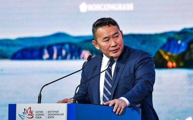 "VLADIVOSTOK, RUSSIA - SEPTEMBER 12, 2018: Mongolia's President Khaltmaagiin Battulga addresses the plenary session titled ""The Far East: Expanding the Range of Possibilities"" as part of the 2018 Eastern Economic Forum at the Far Eastern Federal University (FEFU) on Russky Island in Vladivostok. Donat Sorokin/TASS Host Photo Agency/2018-09-12 16:12:06/"