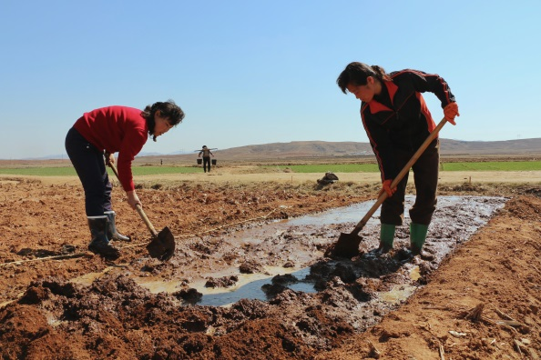 Farmers busy preparing land for maize crop in Sinchon Country. (Photo=WFP)