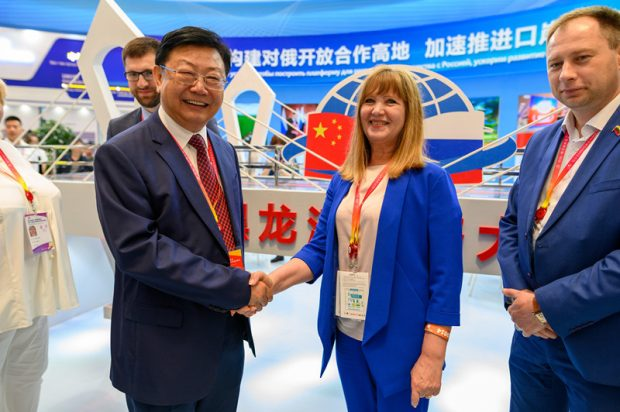 """On June 15, 2019, the 6th China-Russia Expo and the 30th Harbin International Economic and Trade Fair were held at the Harbin International Convention and Exhibition Center. The theme of the Expo was """"China-Russia Local Cooperation: Opportunity, Potential and Future."""" (Photo by Wang Zhaobo from People's Daily Online)"""