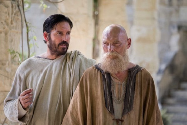 "A scene from the movie ""Paul, the Apostle of Christ"". James Faulkner(right) plays Paul, John played by Jim Cavizel."