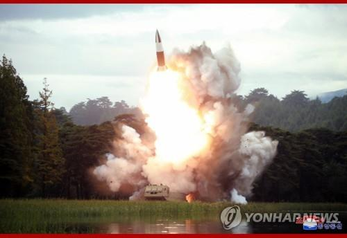 """This photo, carried by the North's Korean Central News Agency on Aug. 17, 2019, shows the test of a """"new weapon"""" a day earlier. The projectile is believed to be the North Korean version of the U.S.' Army Tactical Missile System (ATACMS). (Yonhap)"""
